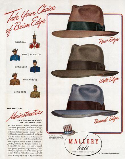 1940s men's hats